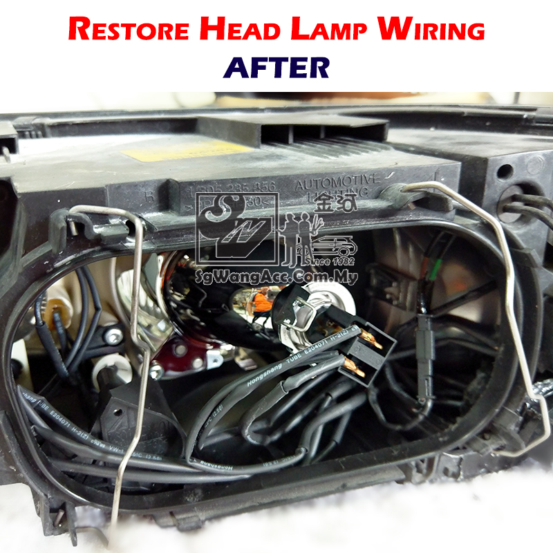 Restoring head-lamp damaged wire insulation by heat-shrink tube.